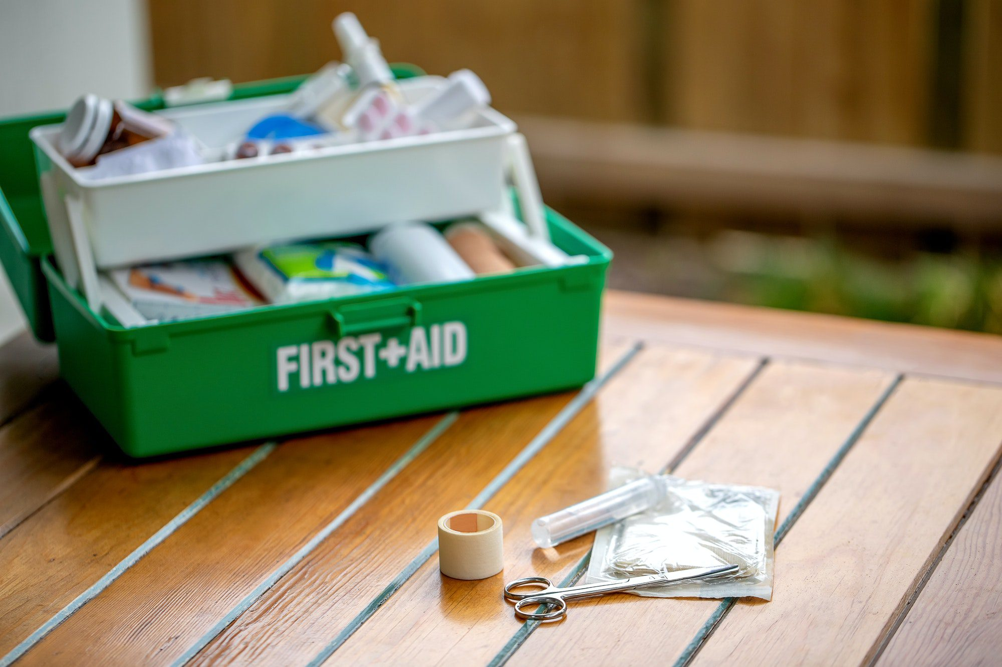 First aid kit on the table